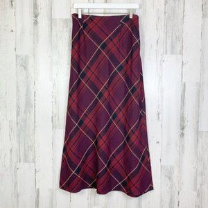 Vintage 90s Maroon Grunge A-Line Maxi Skirt